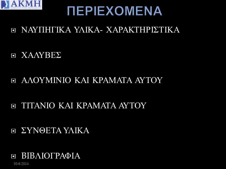 ΠΕΡΙΕΧΟΜΕΝΑ ΝΑΥΠΗΓΙΚΑ ΥΛΙΚΑ- ΧΑΡΑΚΤΗΡΙΣΤΙΚΑ ΧΑΛΥΒΕΣ