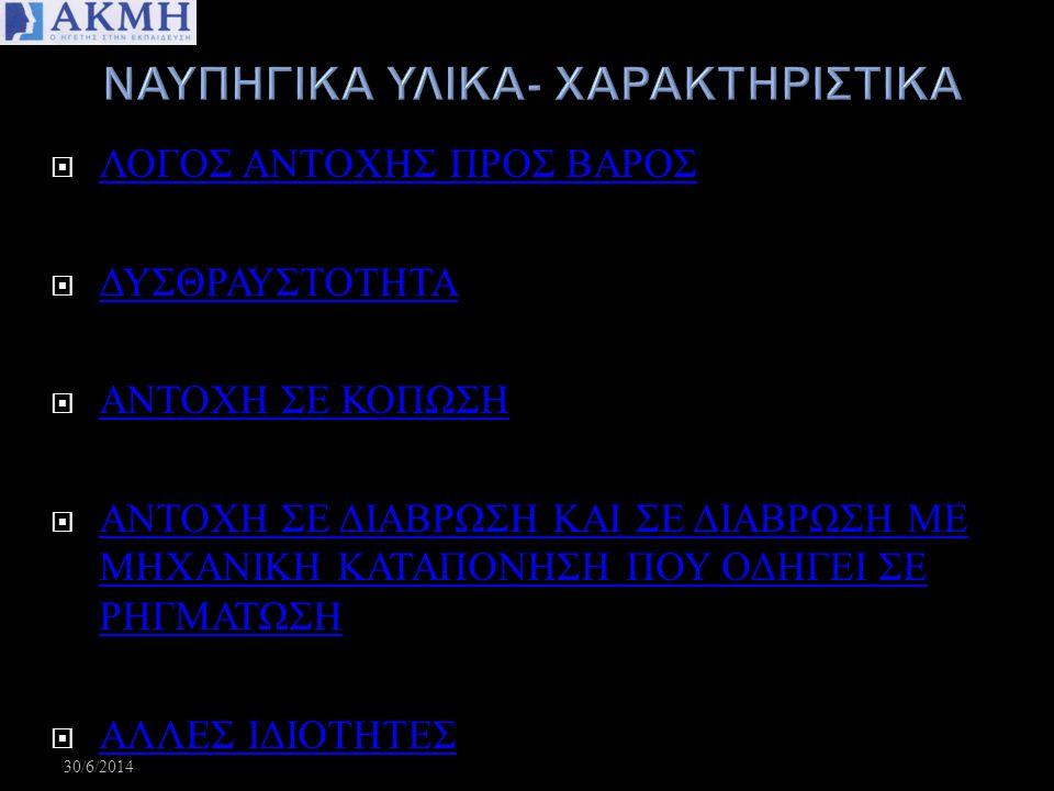 ΝΑΥΠΗΓΙΚΑ ΥΛΙΚΑ- ΧΑΡΑΚΤΗΡΙΣΤΙΚΑ