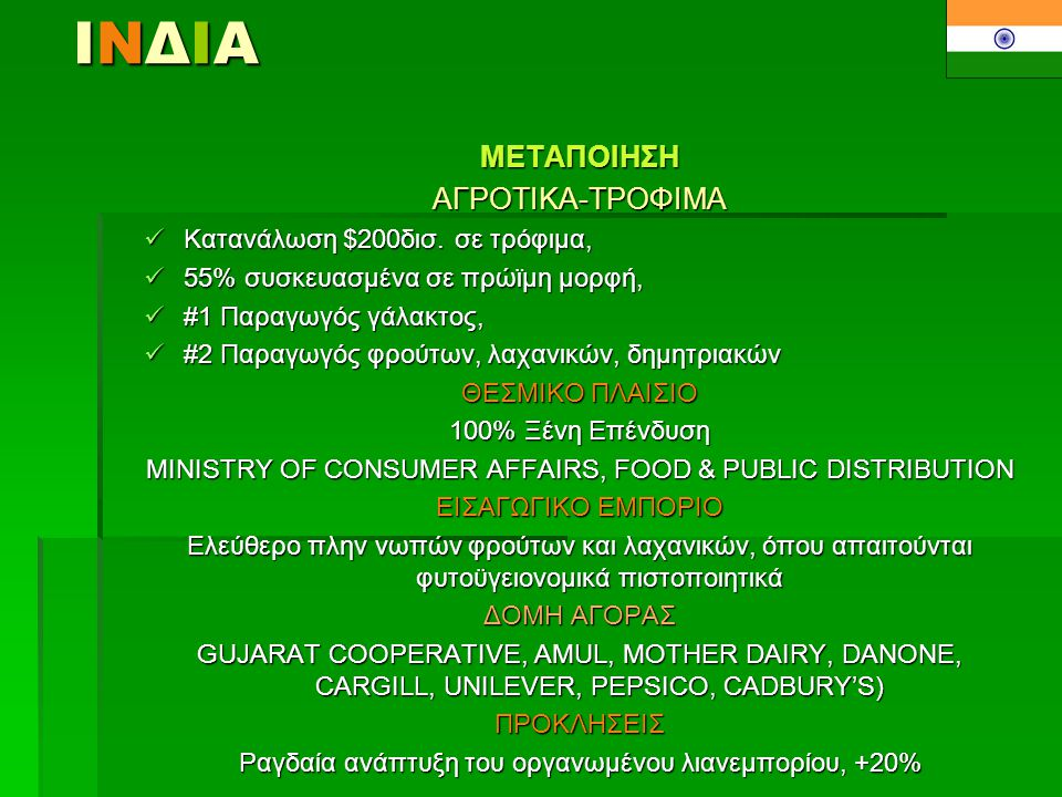 ΙΝΔΙΑ ΜΕΤΑΠΟΙΗΣΗ ΑΓΡΟΤΙΚΑ-ΤΡΟΦΙΜΑ Κατανάλωση $200δισ. σε τρόφιμα,