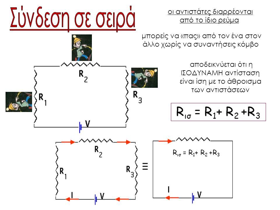Rισ = R1+ R2 +R3 Σύνδεση σε σειρά οι αντιστάτες διαρρέονται