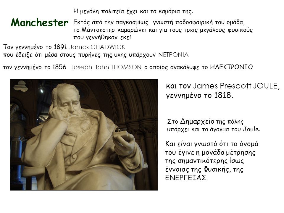 Manchester και τον James Prescott JOULE, γεννημένο το 1818.