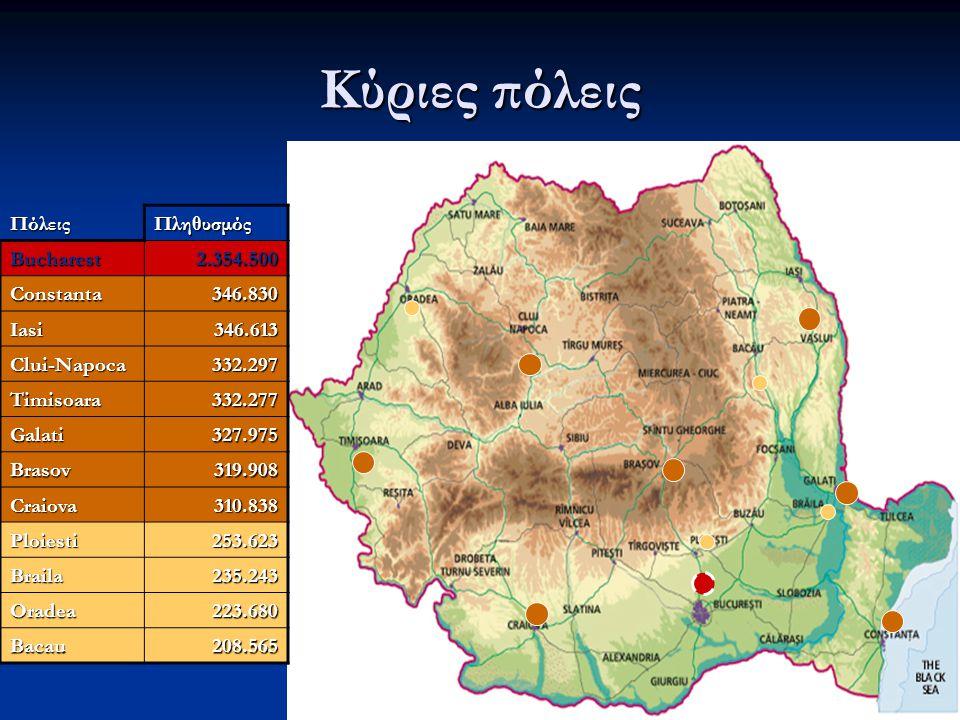 Κύριες πόλεις Πόλεις Πληθυσμός Bucharest 2.354.500 Constanta 346.830