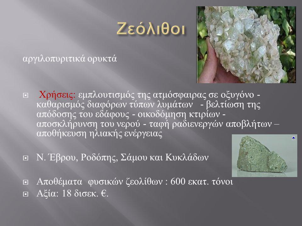 Ζεόλιθοι αργιλοπυριτικά ορυκτά