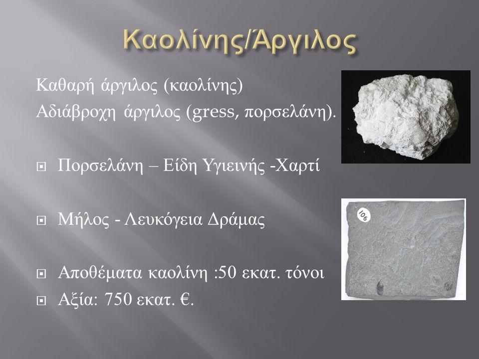 Καολίνης/Άργιλος Καθαρή άργιλος (καολίνης)