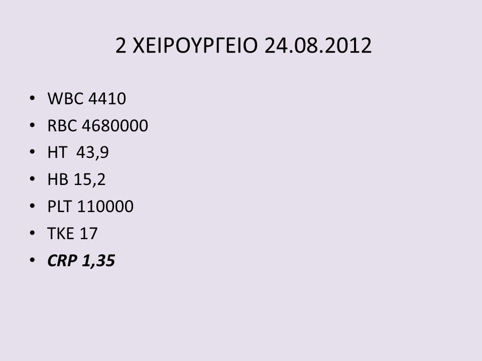 2 ΧΕΙΡΟΥΡΓΕΙΟ 24.08.2012 WBC 4410 RBC 4680000 HT 43,9 HB 15,2