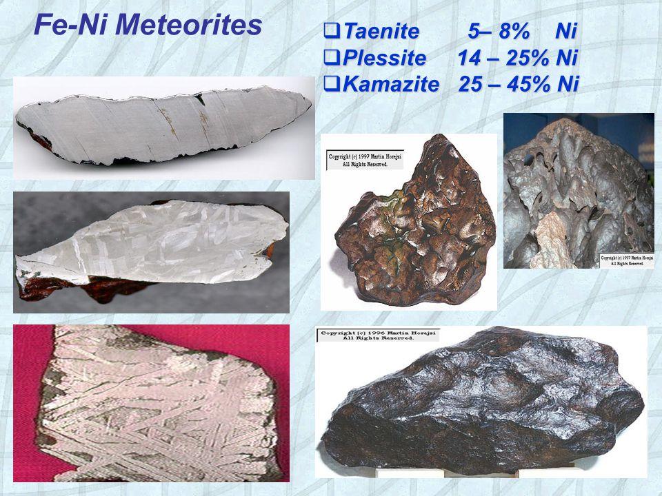 Fe-Ni Meteorites Taenite 5– 8% Ni Plessite 14 – 25% Ni