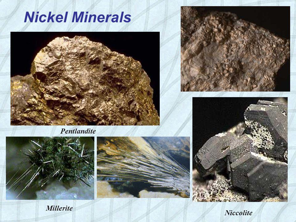 Nickel Minerals Niccolite Pentlandite Millerite