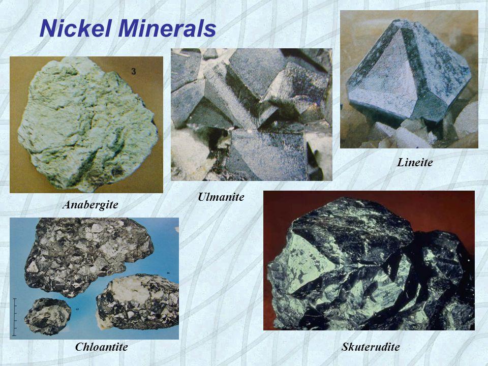 Anabergite Chloantite Skuterudite Ulmanite Lineite Nickel Minerals