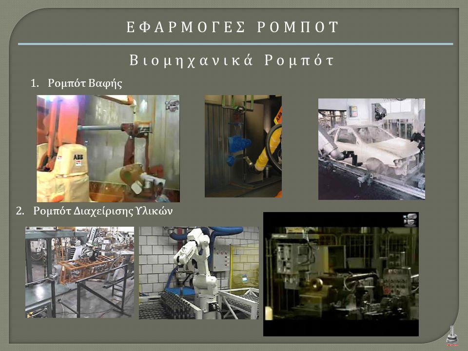 ΕΦΑΡΜΟΓΕΣ ΡΟΜΠΟΤ Βιομηχανικά Ρομπότ Ρομπότ Βαφής