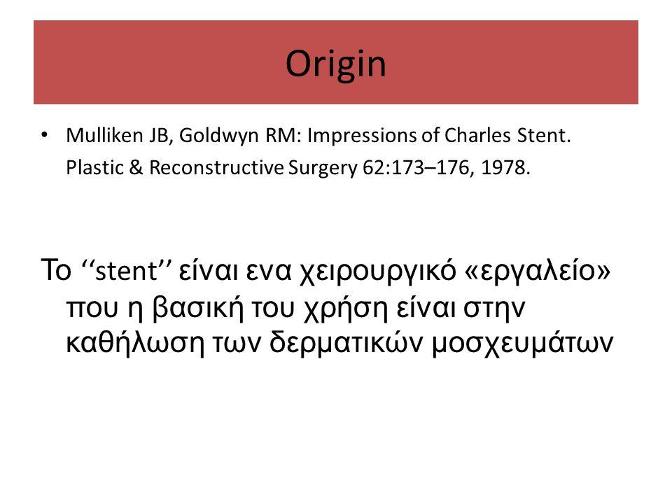 Origin Mulliken JB, Goldwyn RM: Impressions of Charles Stent. Plastic & Reconstructive Surgery 62:173–176, 1978.