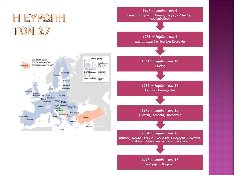 Η ευρωπη των 27 Γαλλία, Γερμανία, Ιταλία, Βέλγιο, Ολλανδία, Λουξεμβούργο. 1957: Η Ευρώπη των 6. Δανία, Ιρλανδία, Μεγάλη Βρετανία.