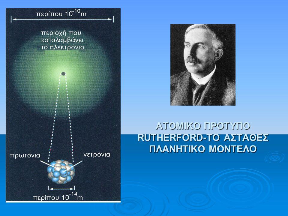 ΑΤΟΜΙΚΟ ΠΡΟΤΥΠΟ RUTHERFORD-ΤΟ ΑΣΤΑΘΕΣ ΠΛΑΝΗΤΙΚΟ ΜΟΝΤΕΛΟ