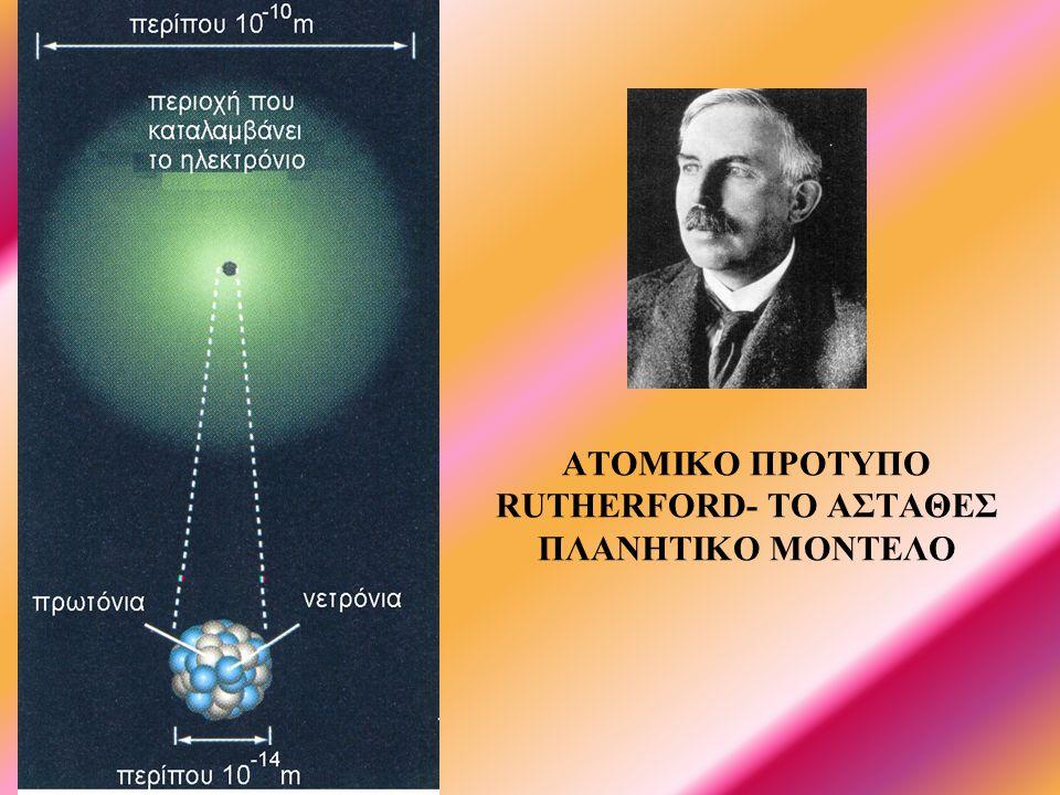 ΑΤΟΜΙΚΟ ΠΡΟΤΥΠΟ RUTHERFORD- ΤΟ ΑΣΤΑΘΕΣ ΠΛΑΝΗΤΙΚΟ ΜΟΝΤΕΛΟ