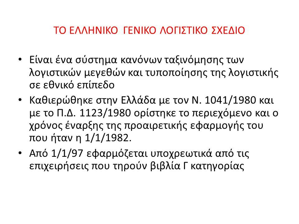 TO ΕΛΛΗΝΙΚΟ ΓΕΝΙΚΟ ΛΟΓΙΣΤΙΚΟ ΣΧΕΔΙΟ