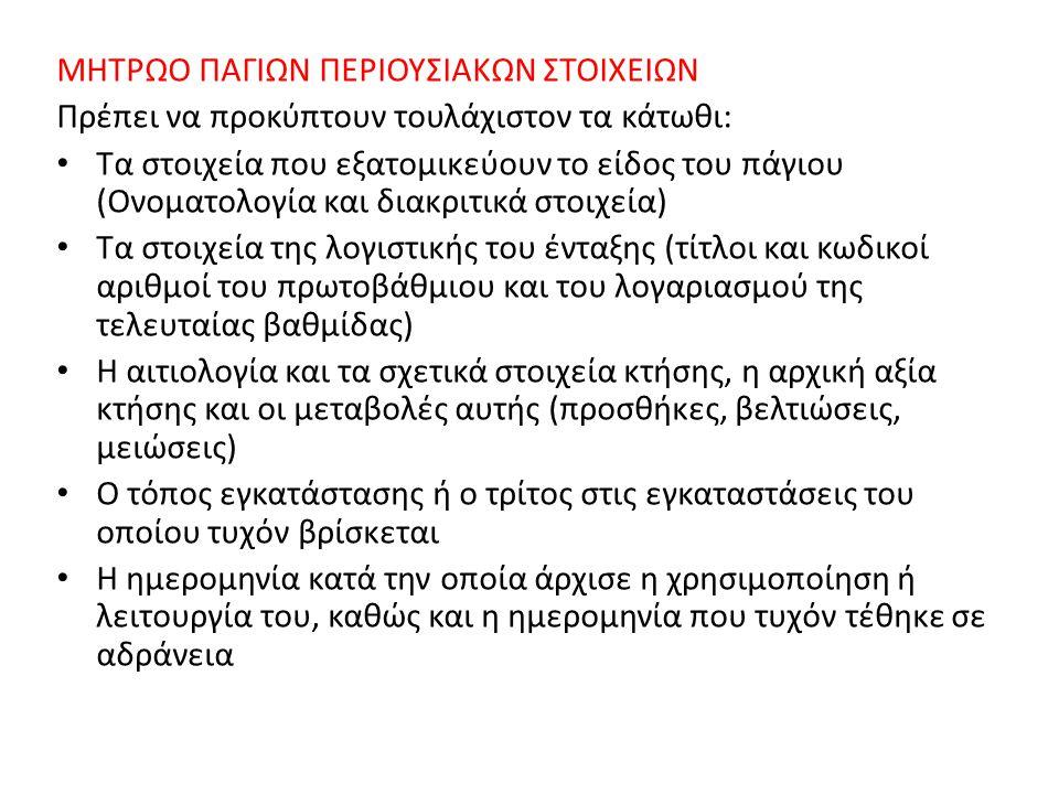 ΜΗΤΡΩΟ ΠΑΓΙΩΝ ΠΕΡΙΟΥΣΙΑΚΩΝ ΣΤΟΙΧΕΙΩΝ