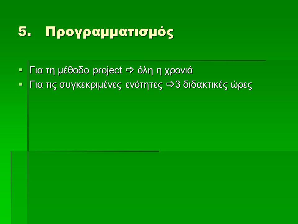 Προγραμματισμός Για τη μέθοδο project  όλη η χρονιά