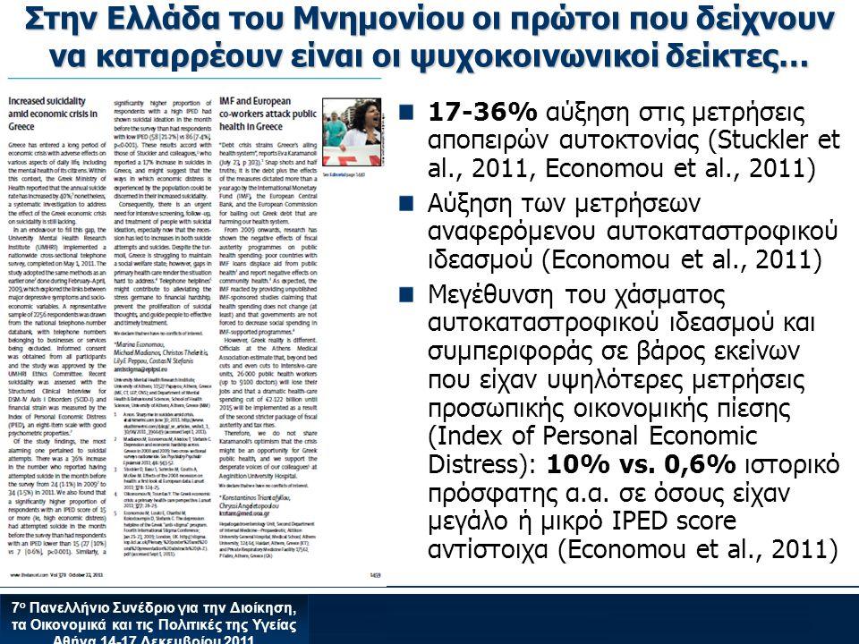Στην Ελλάδα του Μνημονίου οι πρώτοι που δείχνουν να καταρρέουν είναι οι ψυχοκοινωνικοί δείκτες…