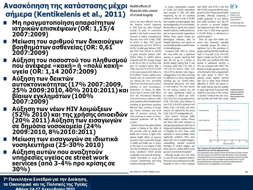Ανασκόπηση της κατάστασης μέχρι σήμερα (Kentikelenis et al., 2011)