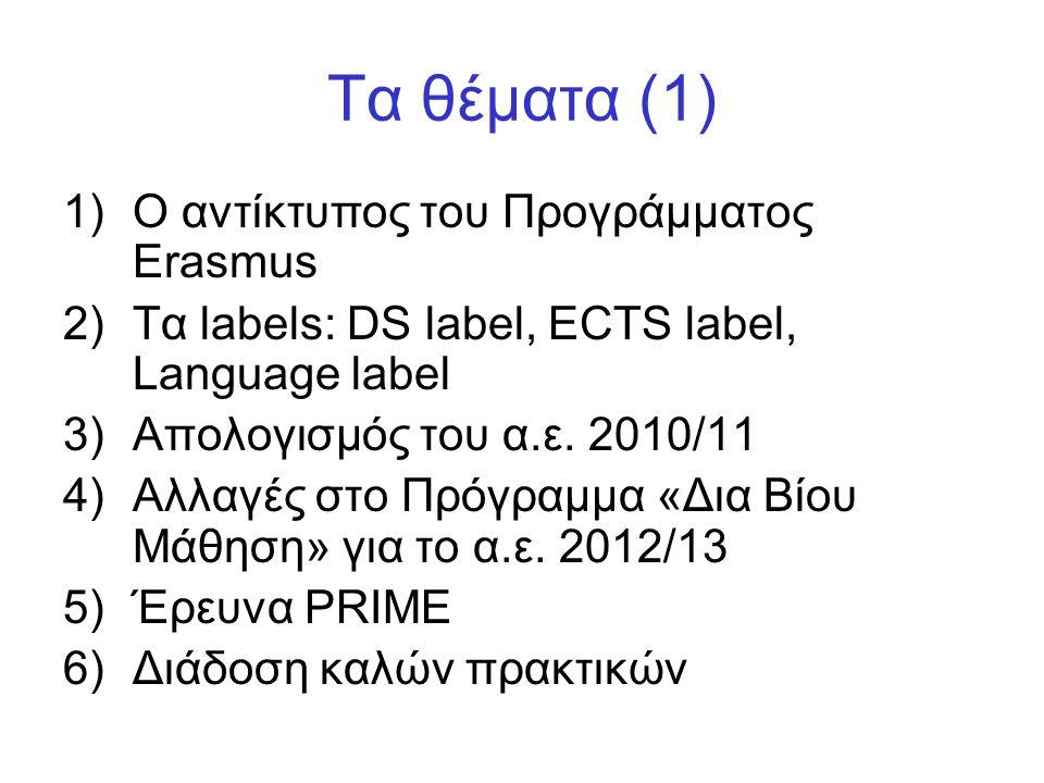 Τα θέματα (1) Ο αντίκτυπος του Προγράμματος Erasmus