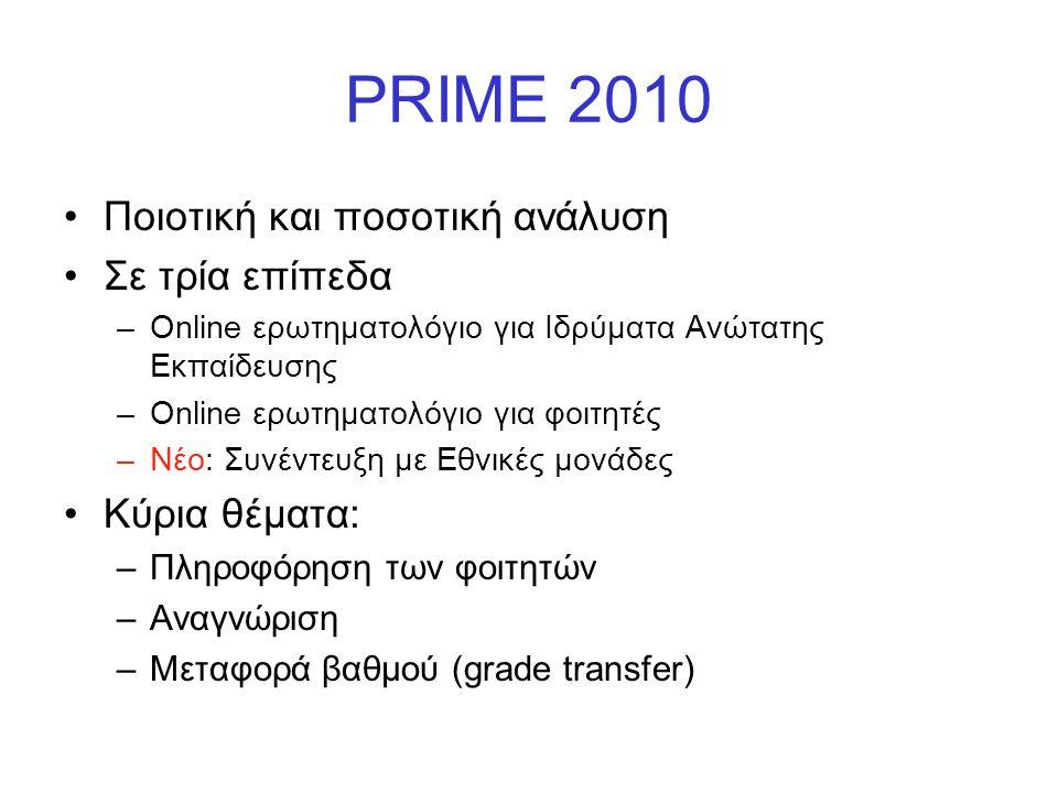 PRIME 2010 Ποιοτική και ποσοτική ανάλυση Σε τρία επίπεδα Κύρια θέματα: