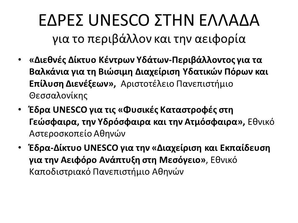 ΕΔΡΕΣ UNESCO ΣΤΗΝ ΕΛΛΑΔΑ για το περιβάλλον και την αειφορία