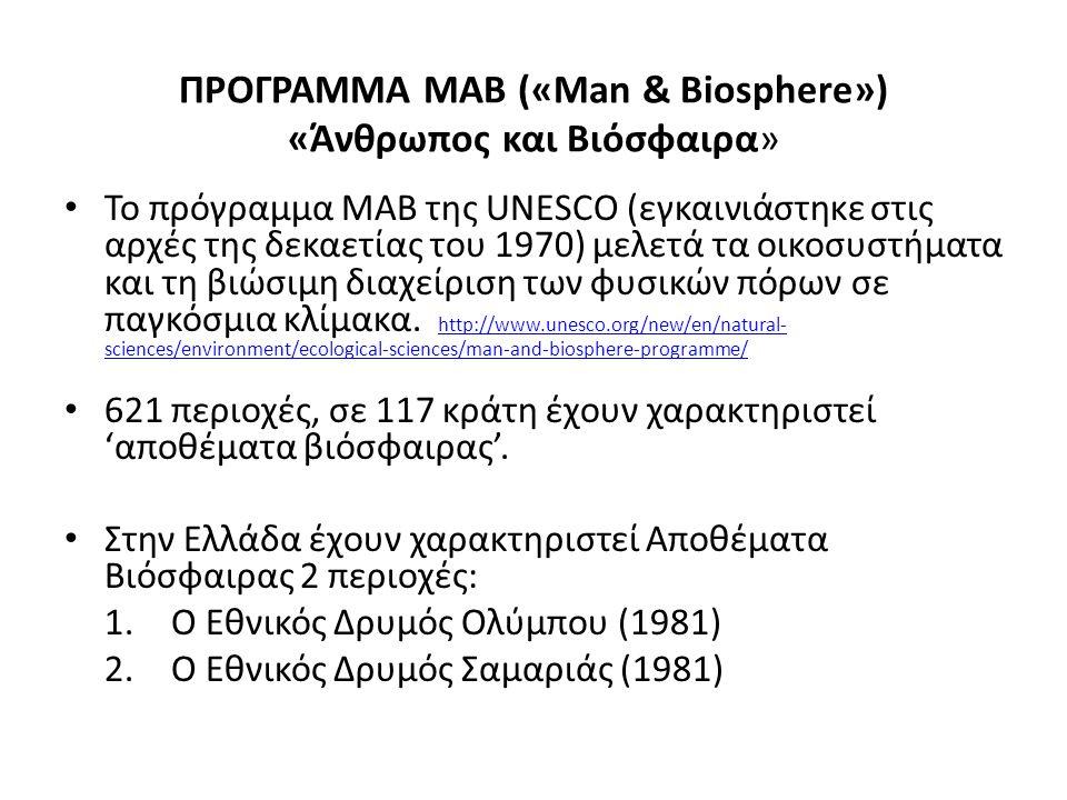 ΠΡΟΓΡΑΜΜΑ ΜΑΒ («Man & Biosphere») «Άνθρωπος και Βιόσφαιρα»