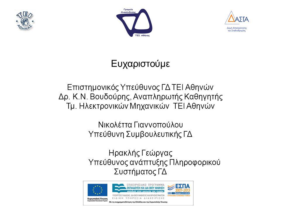 Ευχαριστούμε Επιστημονικός Υπεύθυνος ΓΔ ΤΕΙ Αθηνών