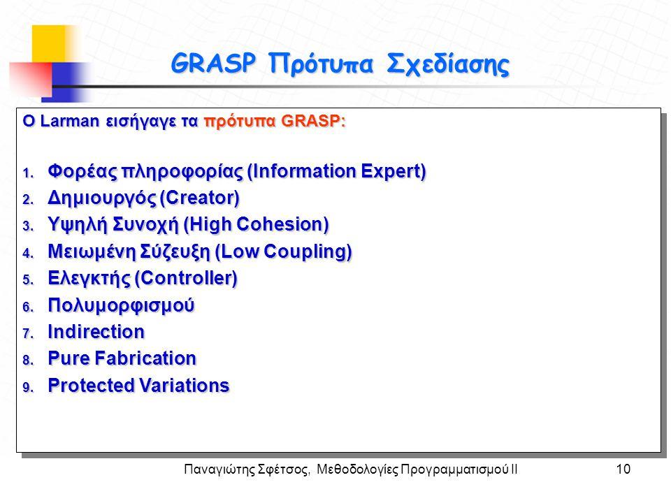 GRASP Πρότυπα Σχεδίασης