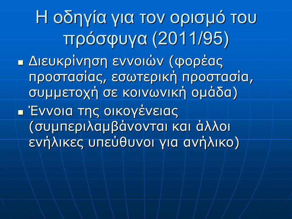 Η οδηγία για τον ορισμό του πρόσφυγα (2011/95)