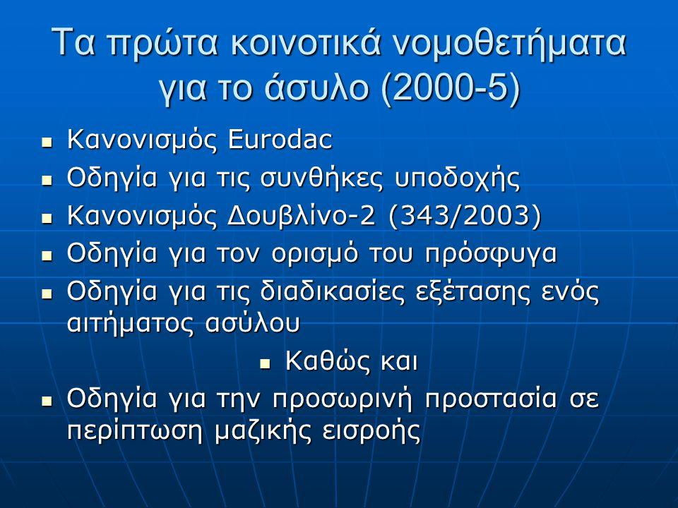 Τα πρώτα κοινοτικά νομοθετήματα για το άσυλο (2000-5)