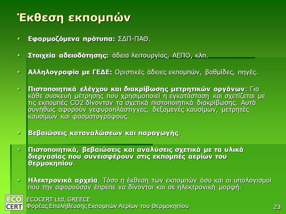 Έκθεση εκπομπών Εφαρμοζόμενα πρότυπα: ΣΔΠ-ΠΑΘ.