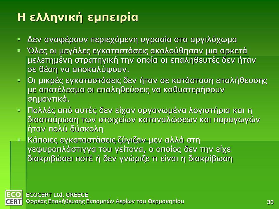 Η ελληνική εμπειρία Δεν αναφέρουν περιεχόμενη υγρασία στο αργιλόχωμα
