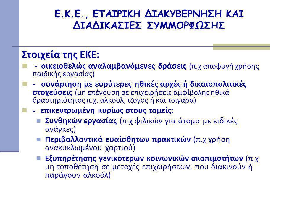 Ε.Κ.Ε., ΕΤΑΙΡΙΚΗ ΔΙΑΚΥΒΕΡΝΗΣΗ ΚΑΙ ΔΙΑΔΙΚΑΣΙΕΣ ΣΥΜΜΟΡΦΩΣΗΣ