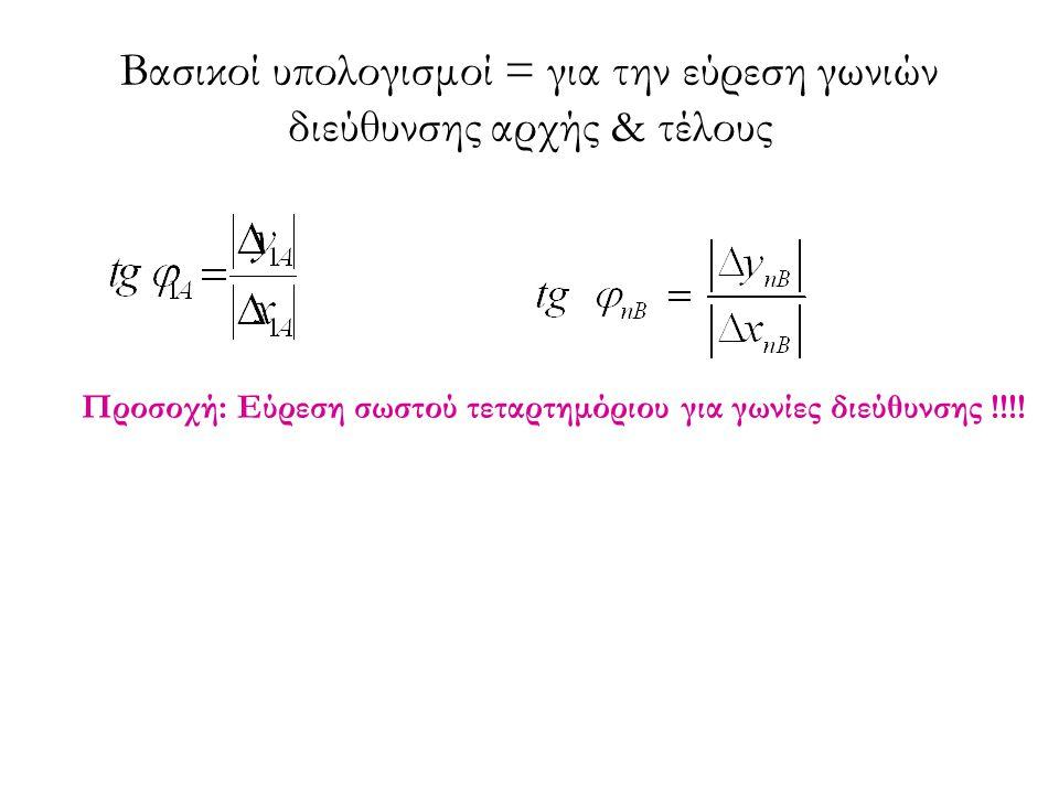 Βασικοί υπολογισμοί = για την εύρεση γωνιών διεύθυνσης αρχής & τέλους