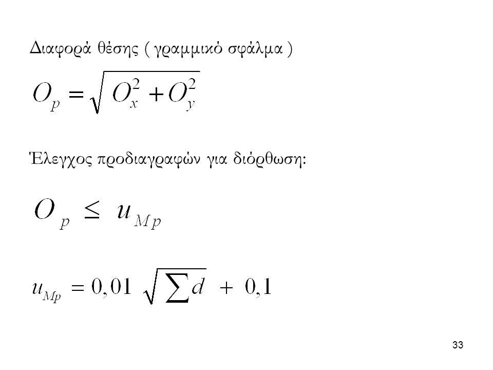Διαφορά θέσης ( γραμμικό σφάλμα )