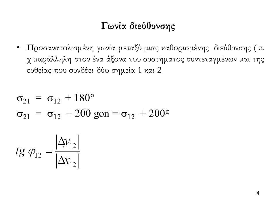 Γωνία διεύθυνσης 21 = 12 + 180 21 = 12 + 200 gon = 12 + 200g