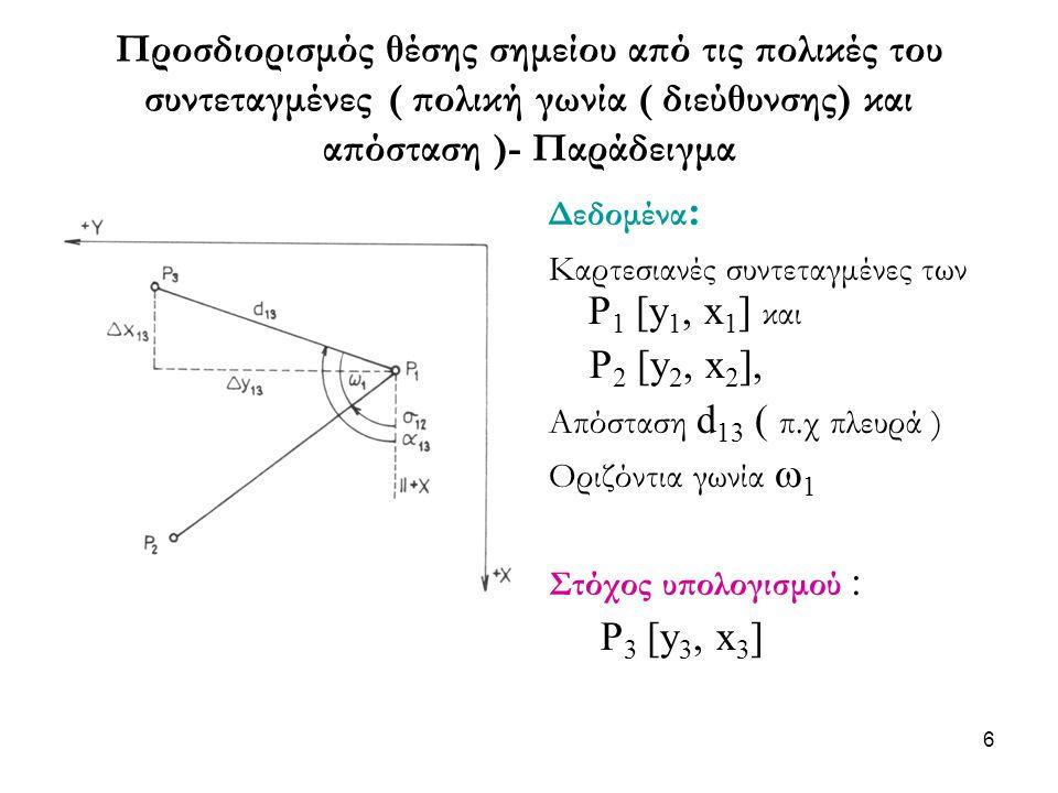 Προσδιορισμός θέσης σημείου από τις πολικές του συντεταγμένες ( πολική γωνία ( διεύθυνσης) και απόσταση )- Παράδειγμα