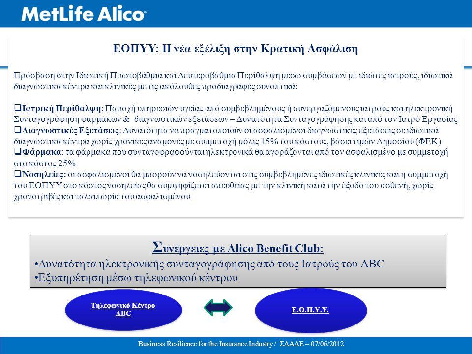 Συνέργειες με Alico Benefit Club: