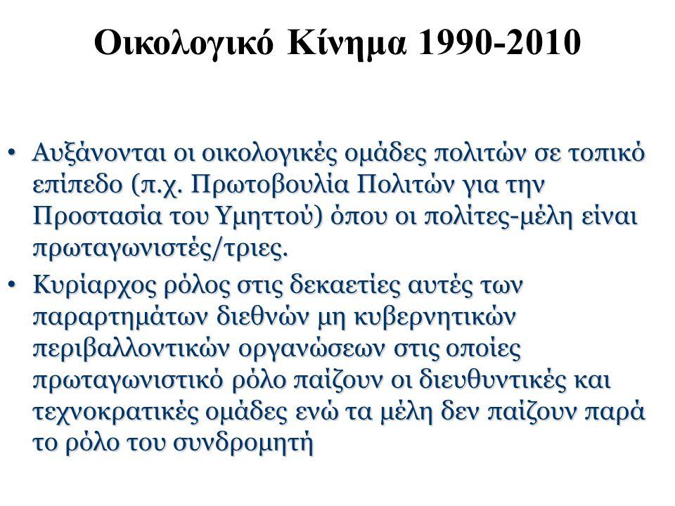 Οικολογικό Κίνημα 1990-2010