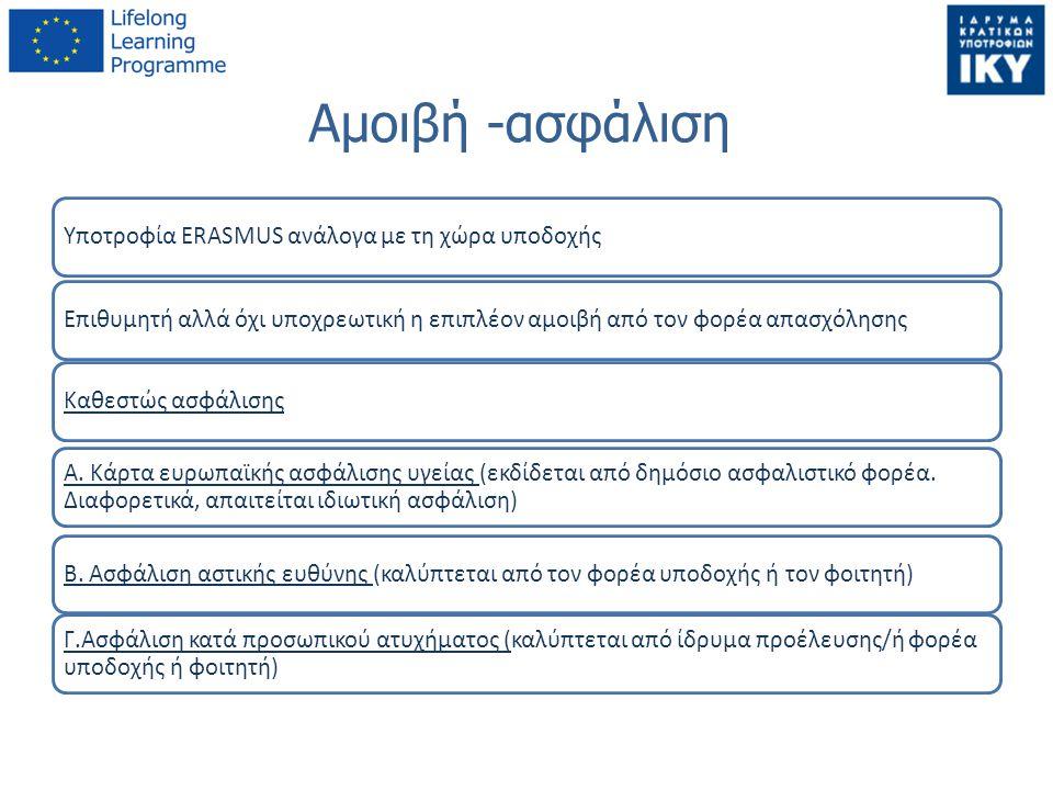 Αμοιβή -ασφάλιση Υποτροφία ERASMUS ανάλογα με τη χώρα υποδοχής