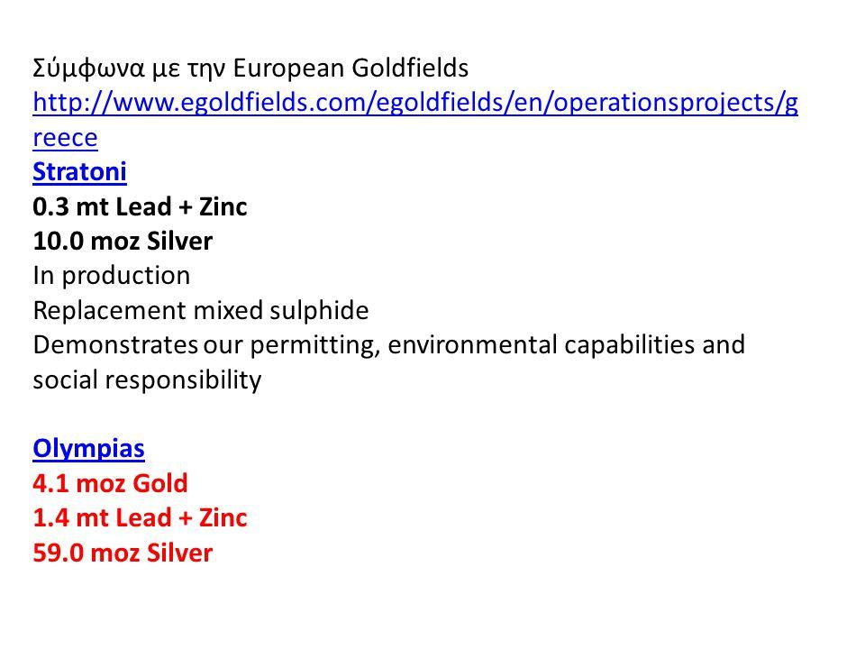 Σύμφωνα με την European Goldfields