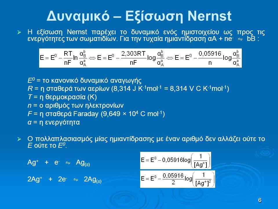 Δυναμικό – Εξίσωση Nernst