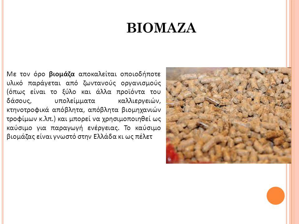 Με τον όρο βιομάζα αποκαλείται οποιοδήποτε υλικό παράγεται από ζωντανούς οργανισμούς (όπως είναι το ξύλο και άλλα προϊόντα του δάσους, υπολείμματα καλλιεργειών, κτηνοτροφικά απόβλητα, απόβλητα βιομηχανιών τροφίμων κ.λπ.) και μπορεί να χρησιμοποιηθεί ως καύσιμο για παραγωγή ενέργειας. Το καύσιμο βιομάζας είναι γνωστό στην Ελλάδα κι ως πέλετ
