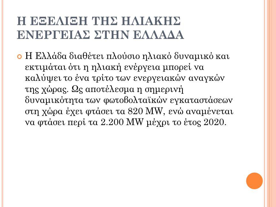 Η εξελιξη της ηλιακης ενεργειας ςτην Ελλαδα