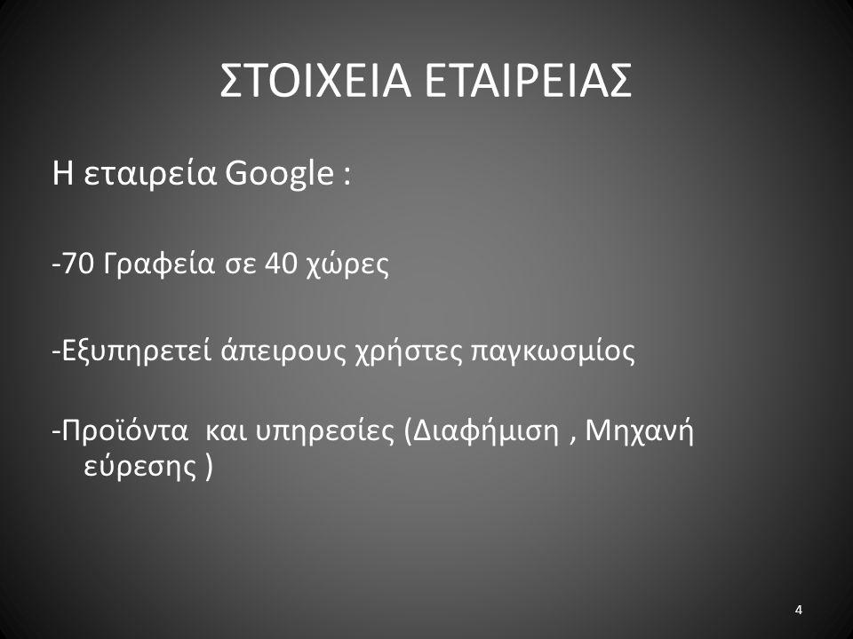 ΣΤΟΙΧΕΙΑ ΕΤΑΙΡΕΙΑΣ Η εταιρεία Google : -70 Γραφεία σε 40 χώρες