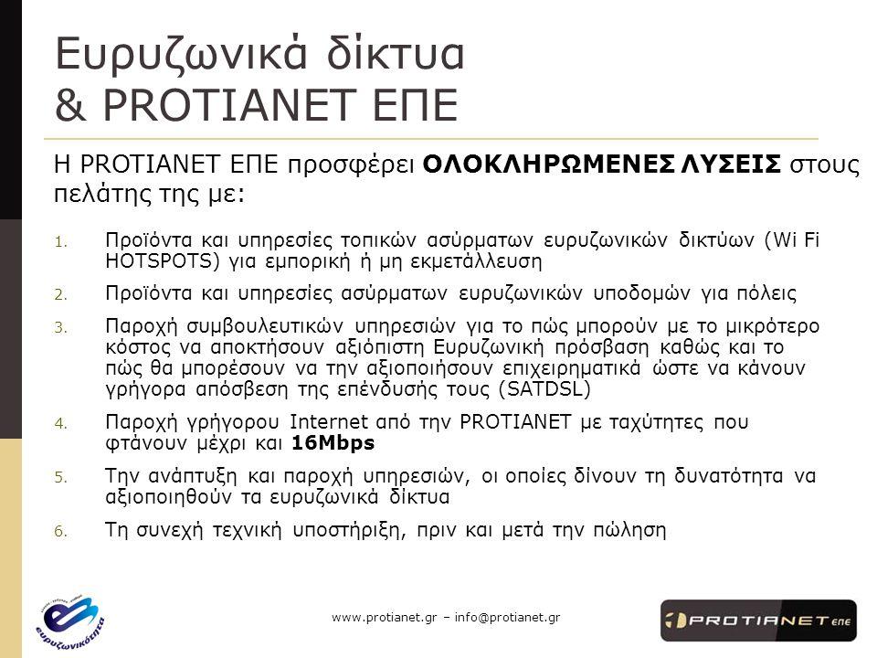 Ευρυζωνικά δίκτυα & PROTIANET ΕΠΕ