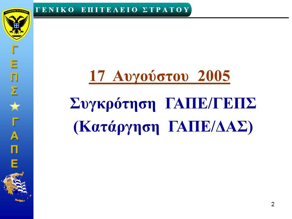 17 Αυγούστου 2005 Συγκρότηση ΓΑΠΕ/ΓΕΠΣ (Κατάργηση ΓΑΠΕ/ΔΑΣ)