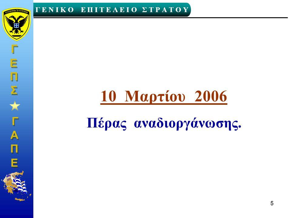 10 Μαρτίου 2006 Πέρας αναδιοργάνωσης.