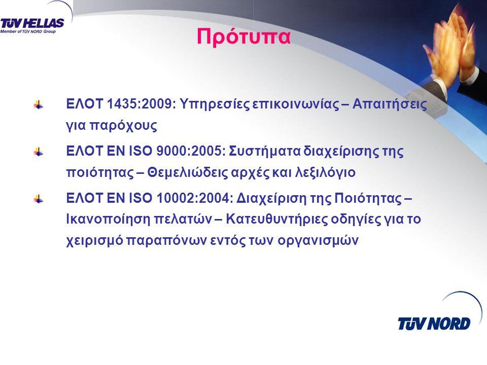 Πρότυπα ΕΛΟΤ 1435:2009: Υπηρεσίες επικοινωνίας – Απαιτήσεις για παρόχους.