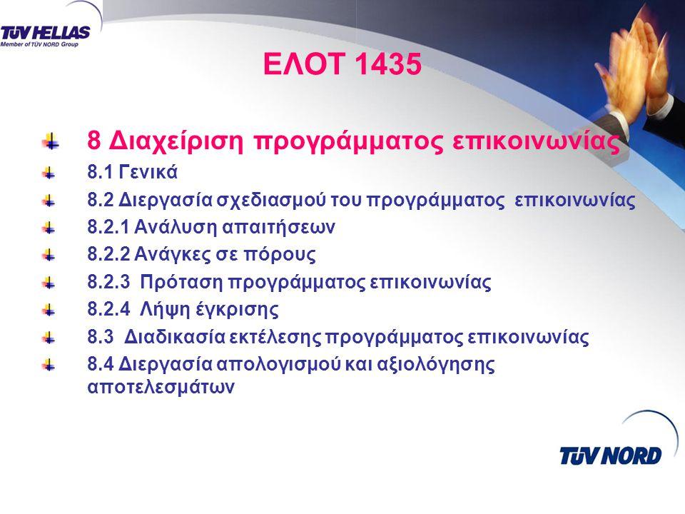 ΕΛΟΤ 1435 8 Διαχείριση προγράμματος επικοινωνίας 8.1 Γενικά